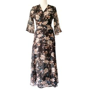 Chic Wish Floral Wrap Dress Flounce Sleeves Sheer